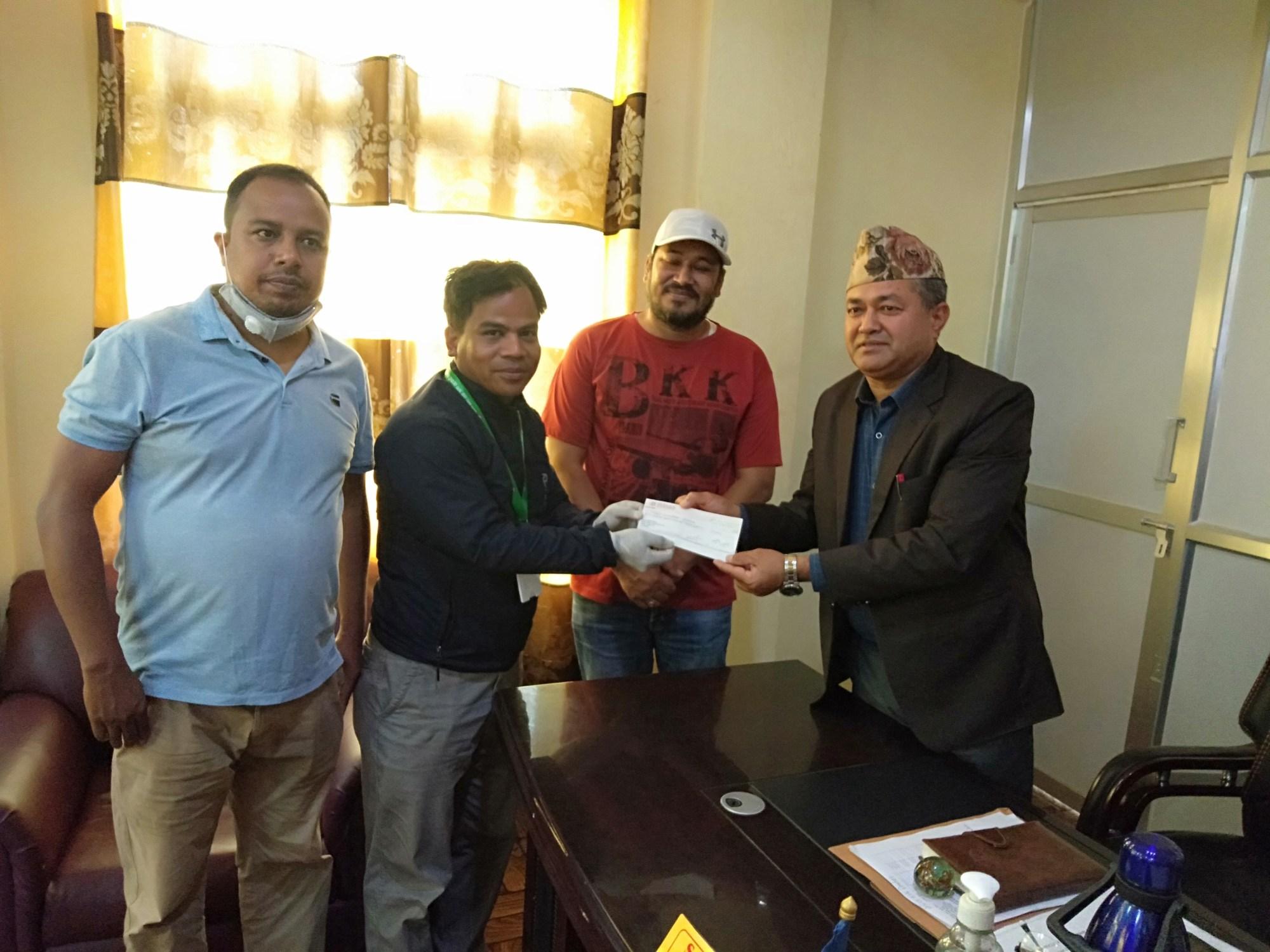 sangam donate to relief fund of bidur municipality
